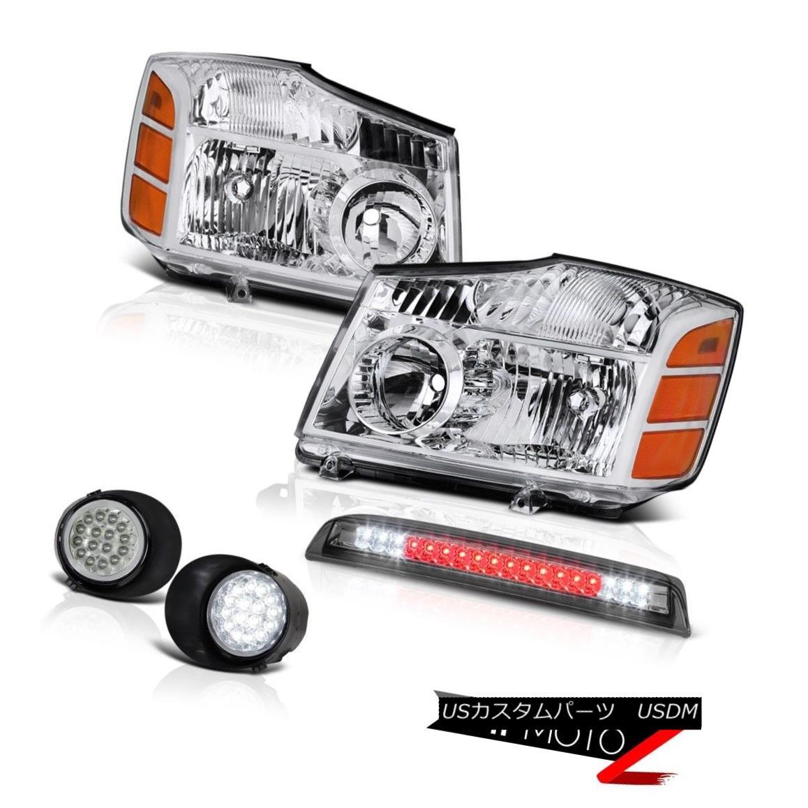 ヘッドライト For 04-15 Titan 4X4 Clear Headlights Bumper LED DRL Fog Kit Tint Cargo 3rd Brake 04-15タイタン4X4クリアヘッドライトバンパーLED DRLフォグキットティントカーゴ第3ブレーキ