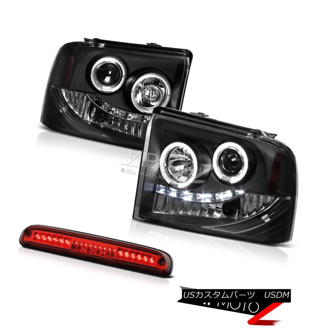 ヘッドライト 05 06 07 Ford F-350 Outlaw Black Halo Projector Headlights Roof Brake LED Red 05 06 07フォードF-350アウトローブラックハロープロジェクターヘッドライトルーフブレーキLEDレッド