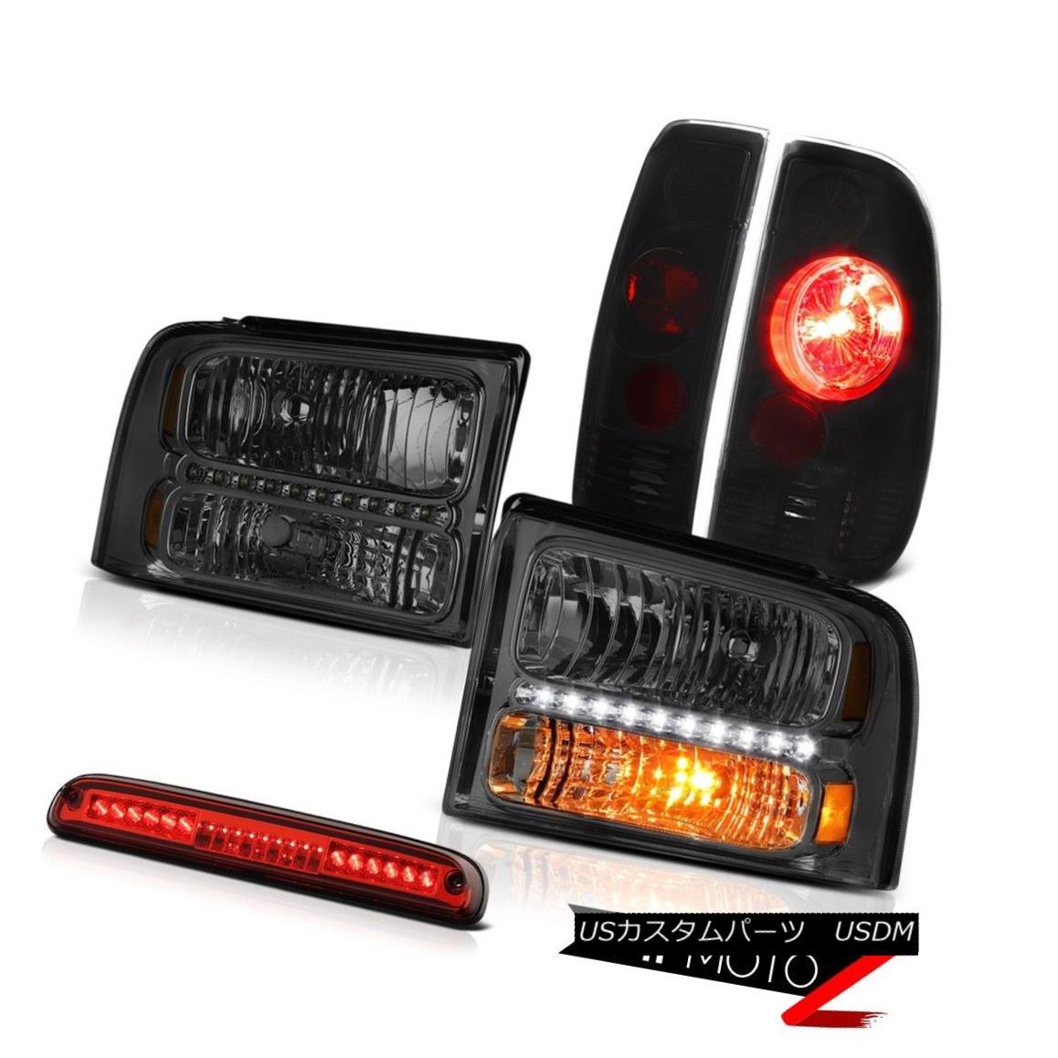 ヘッドライト 05 06 07 F350 Amarillo Smoke Headlights Sinister Black Brake Lamps High Stop LED 05 06 07 F350アマリロ煙のヘッドライト灰色の黒いブレーキランプハイストップLED