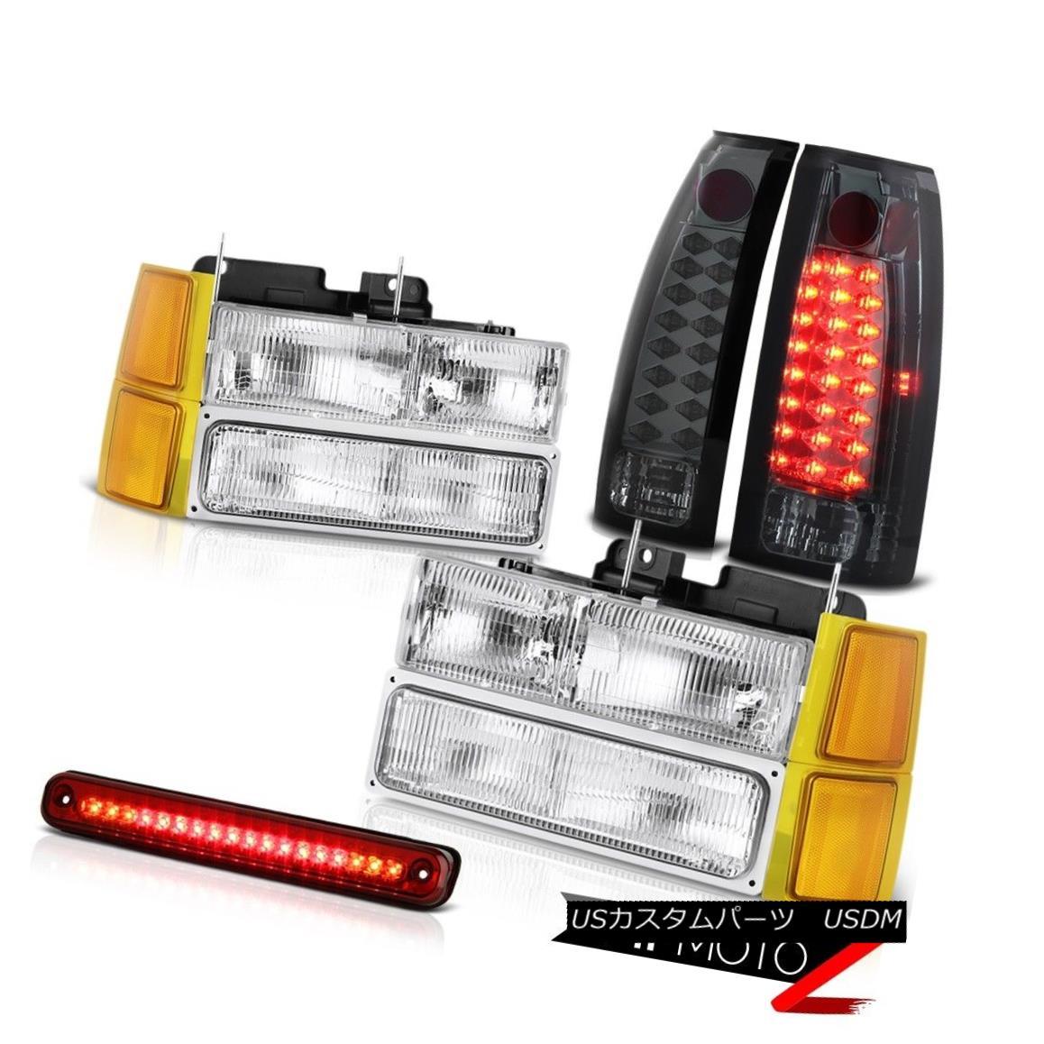 ヘッドライト 94-98 Chevy C1500 Headlamps bumper wine red roof cab lamp smoked taillamps LED 94-98シボレーC1500ヘッドランプバンパーワインレッド屋根キャブランプ燻製テールランプLED