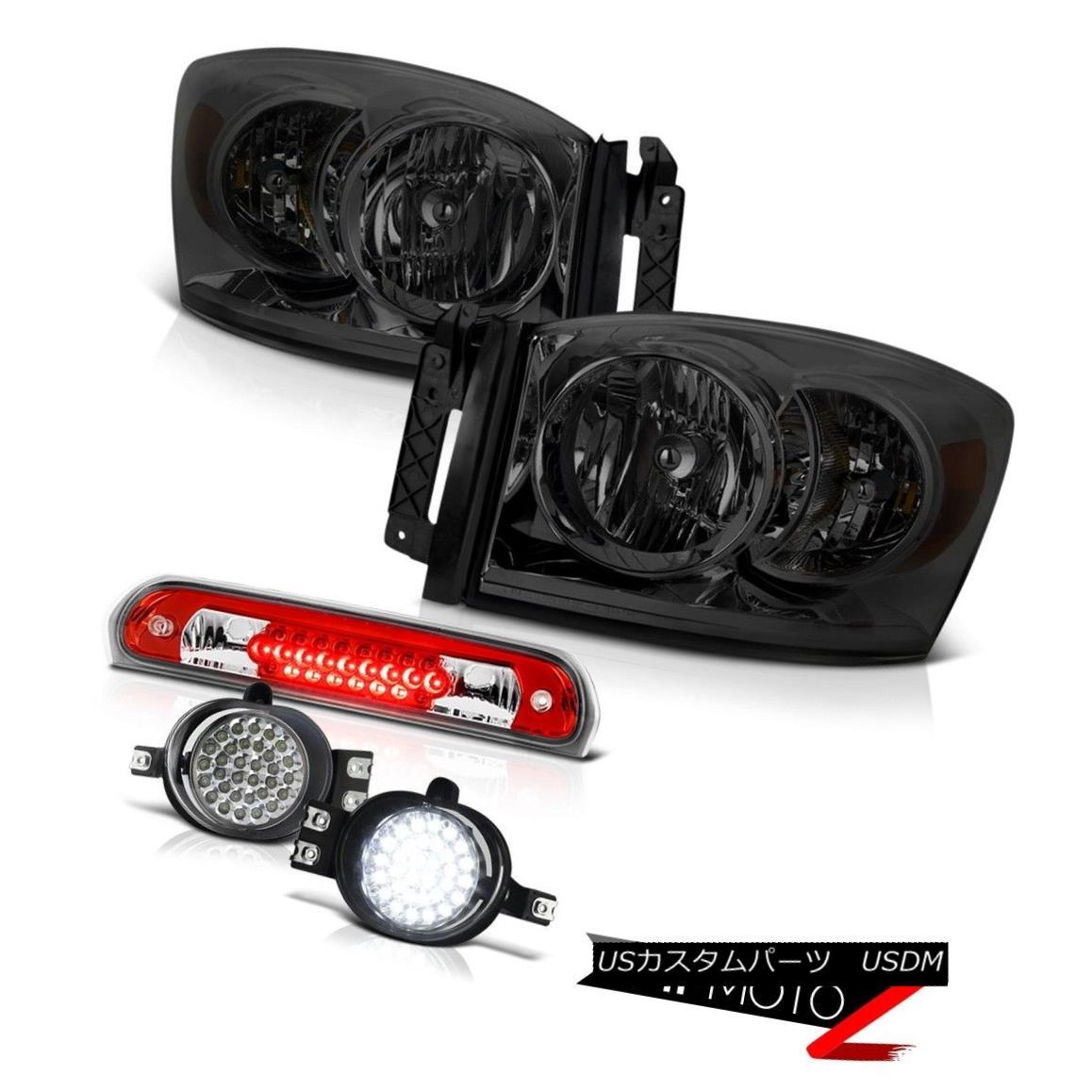 ヘッドライト Left Right Smoke Headlights Wiring+LED Fog Third Brake Cargo LED 07 08 Ram Hemi 左右スモークヘッドライト配線+ LEDフォグ第3ブレーキカーゴLED 07 08 Ram Hemi