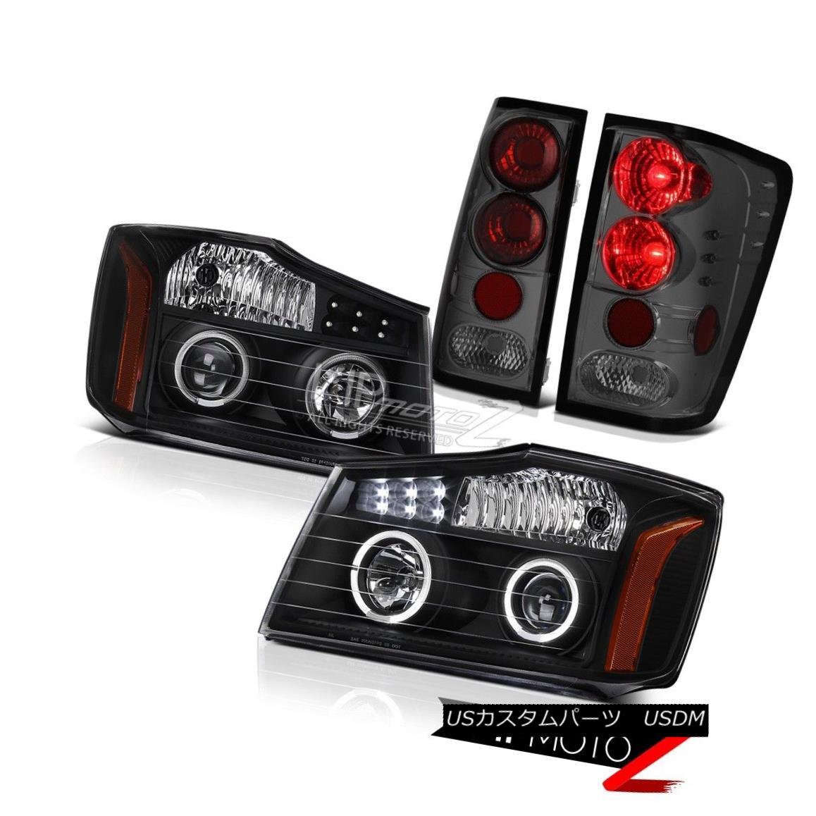 ヘッドライト For 2004-2015 Titan SE Black LED DRL Headlamps Assembly Smoke Red Tail Lights 2004年?2015年タイタンSEブラックLED DRLヘッドランプ組立煙レッドテールライト