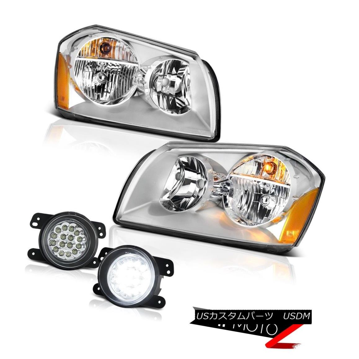 ヘッドライト 05 06 07 Dodge Magnum Se Clear Chrome Fog Lamps Headlights SMD DRL Replacement 05 06 07 Dodge Magnum SeクリアクロームフォグランプヘッドライトSMD DRL交換
