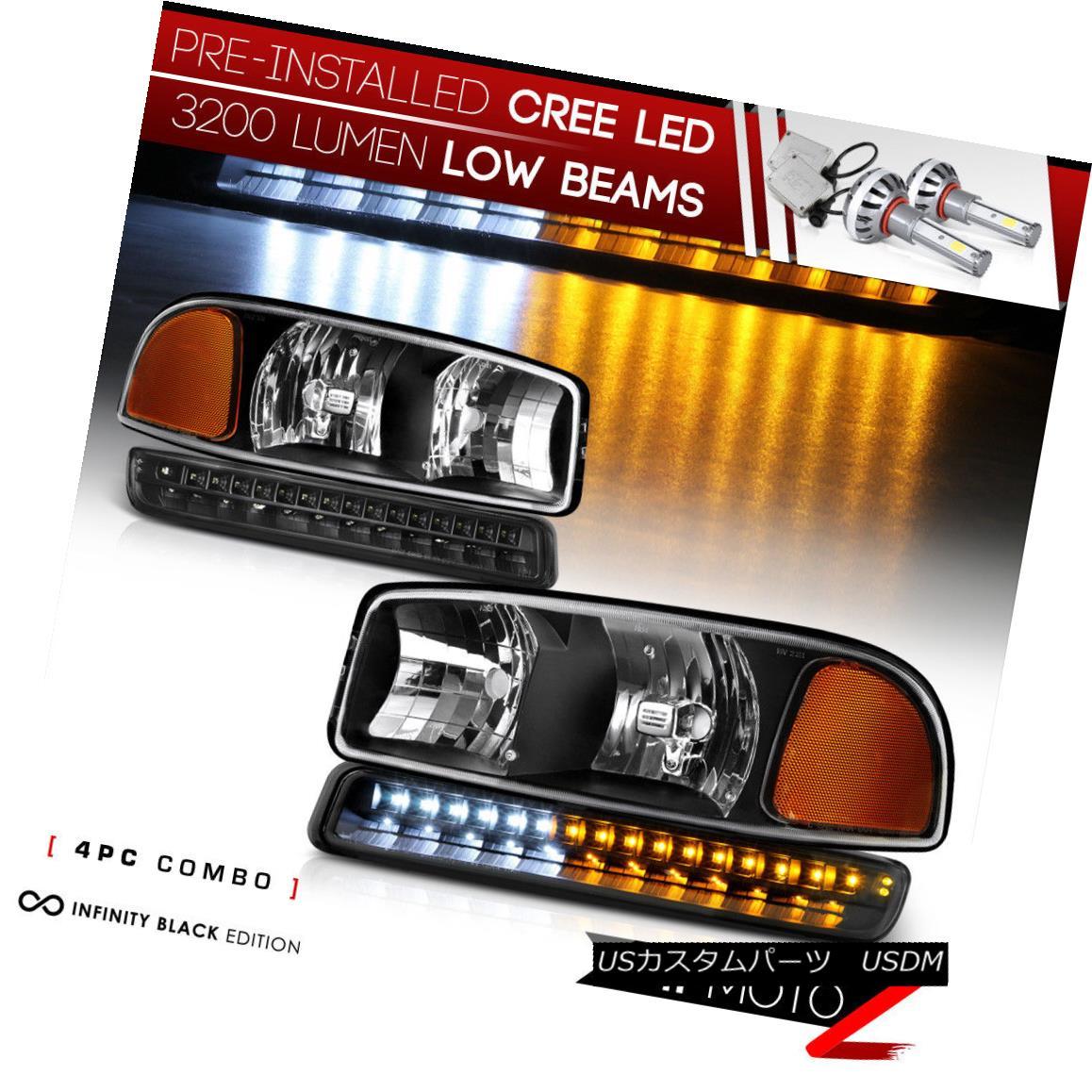 ヘッドライト [CREE LED Bulb Installed] 99-06 GMC Sierra Black Replacement Headlight Assembly [CREE LED Bulbをインストール] 99-06 GMC Sierra Black交換ヘッドライトアセンブリ