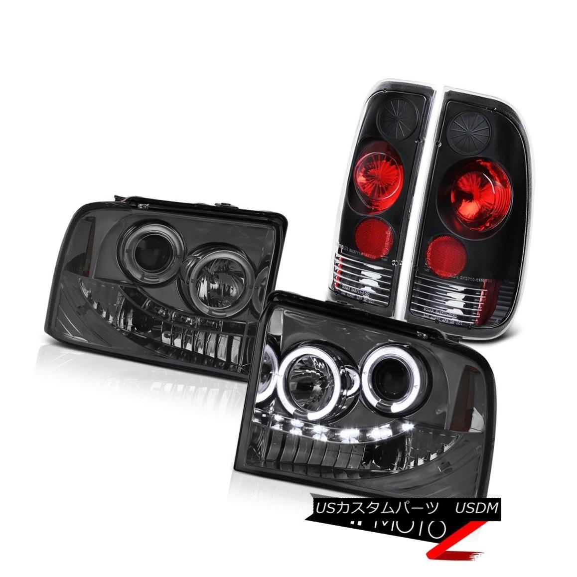 ヘッドライト 2005-2007 Ford F350 Superduty XL Headlight Halo DRL LED Black Clear Tail Lamps 2005-2007フォードF350スーパーDuty XLヘッドライトHalo DRL LEDブラッククリアテールランプ
