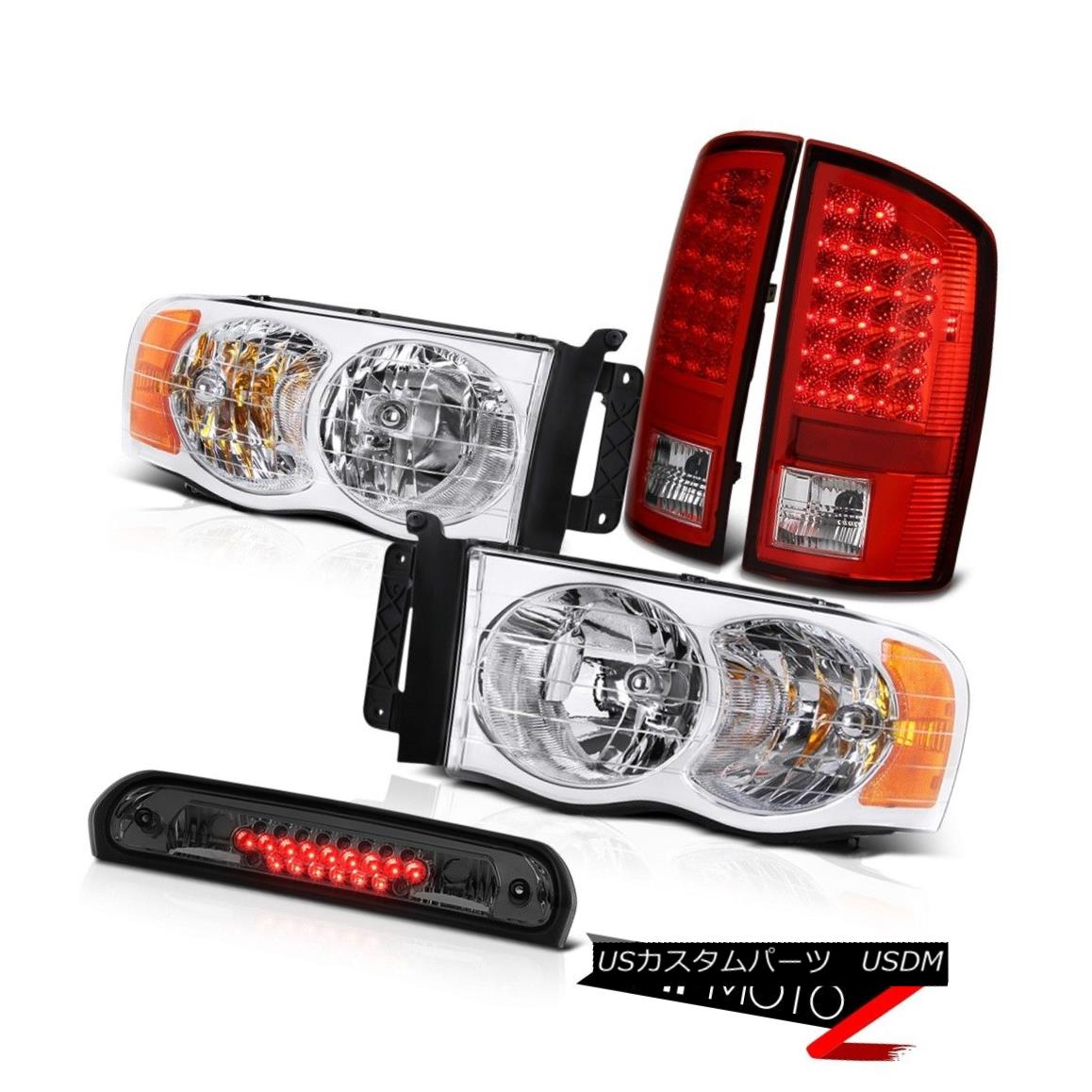 ヘッドライト Chrome Headlamps LED Tail Lights Smoke Third Brake 2002-2005 Ram TurboDiesel クロームヘッドランプLEDテールライトスモークサードブレーキ2002-2005 Ram TurboDiesel