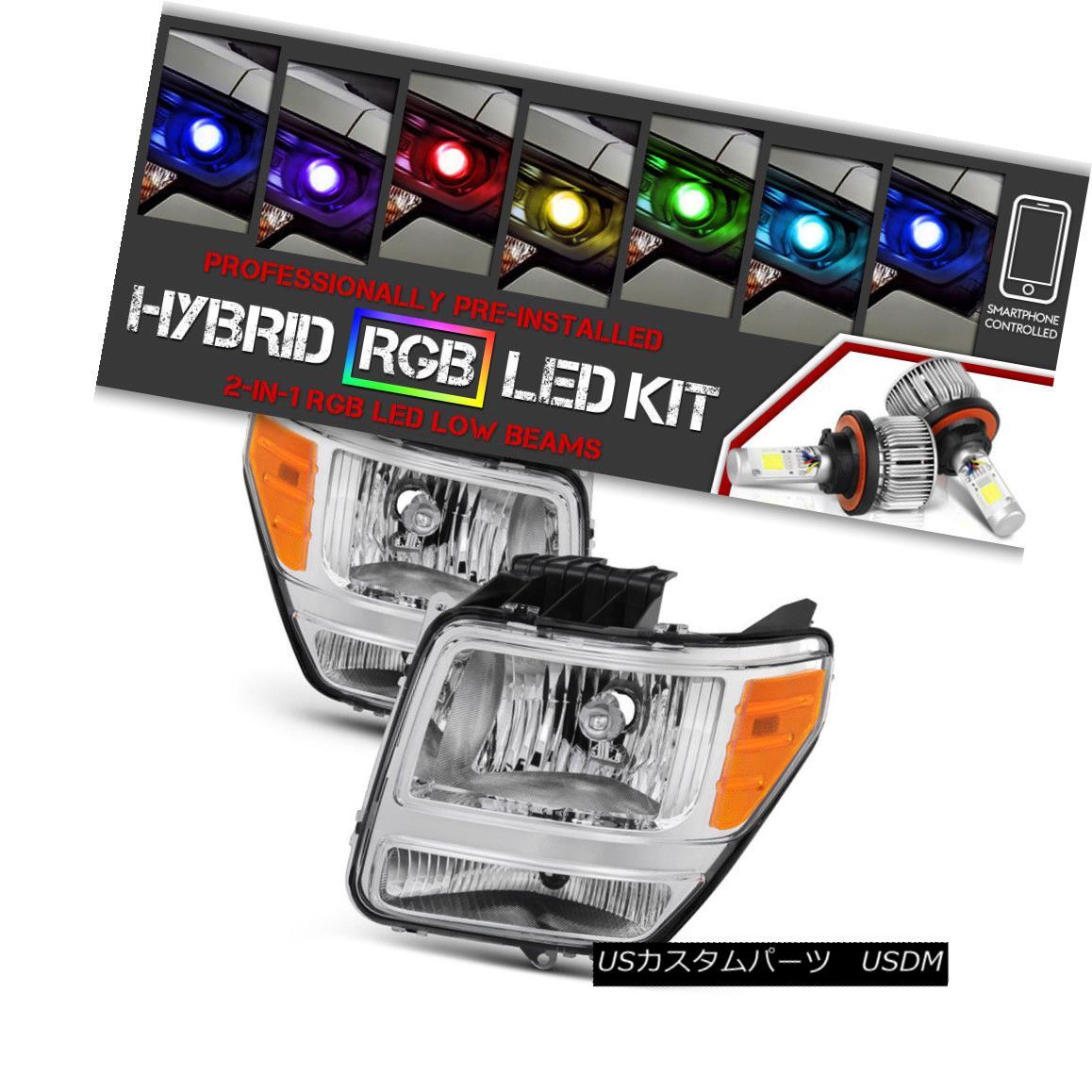 ヘッドライト [RAINBOW LED LOW BEAM] {FACTORY STYLE} 2007-2011 Dodge Nitro Chrome Headlamp SET [RAINBOW LED LOW BEAM] {ファクトリースタイル} 2007-2011 Dodge Nitro Chrome Headlamp SET