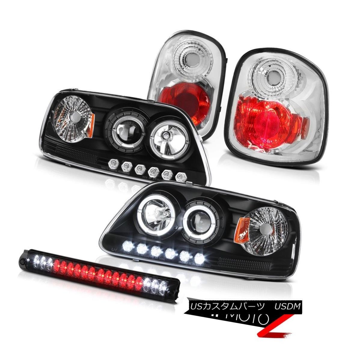 ヘッドライト Halo LED Headlights Rear Tail Lights Smoke 3rd Brake 97-00 F150 Flareside Lariat Halo LEDヘッドライトリアテールライトスモーク3rdブレーキ97-00 F150 Flareside Lariat
