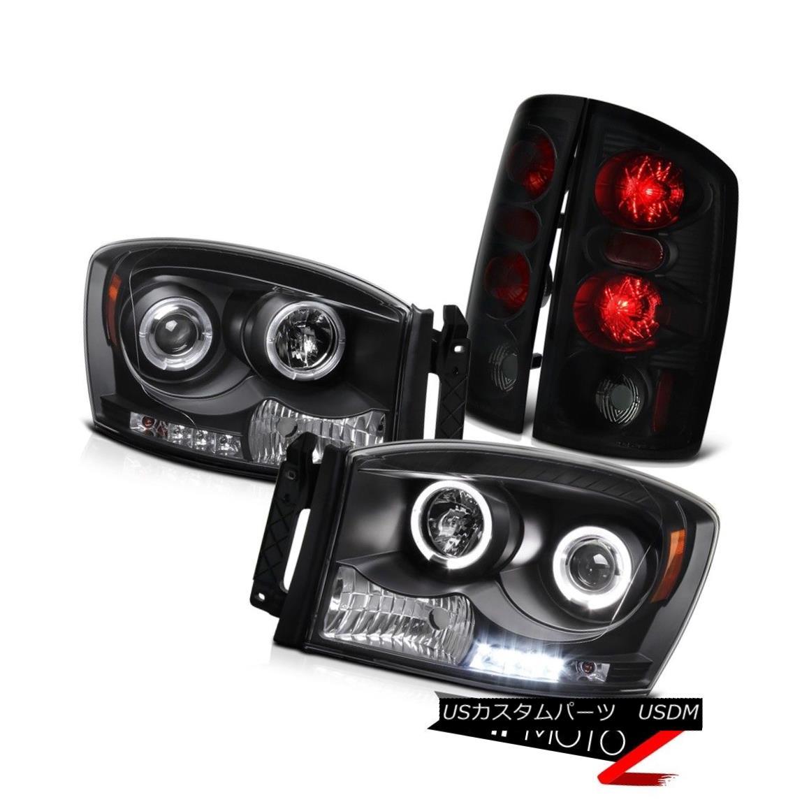 ヘッドライト Black Halo LED Projector Headlights+Smoke Tail Lights Signal Lamp Dodge Ram 2006 ブラックハローLEDプロジェクターヘッドライト+スモー keテールライト信号ランプDodge Ram 2006