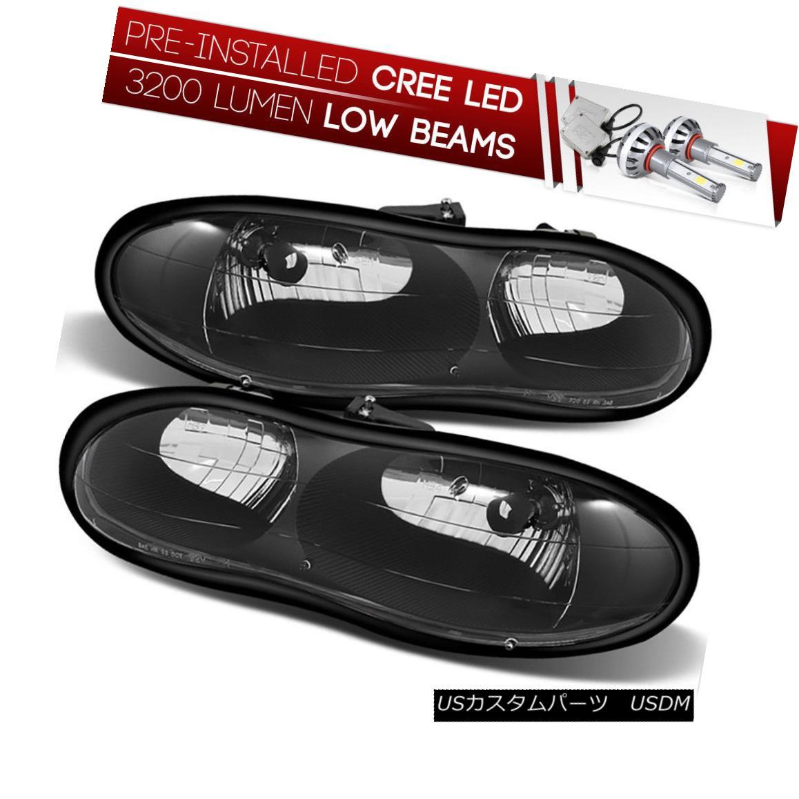 ヘッドライト [CREE LED Bulb Installed]98-02 Chevy Camaro Black Replacement Headlight Assembly [CREE LED Bulbをインストール] 98-0  2シボレーカマロブラック交換ヘッドライトアセンブリ