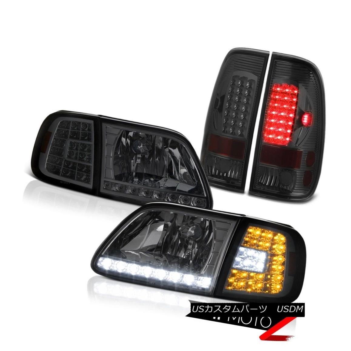 ヘッドライト 97 98 99 00 01 02 03 Ford F150 Smoke DRL Parking Headlights LED Tail Brake Lamps 97 98 99 00 01 02 03フォードF150スモークDRLパーキングヘッドライトLEDテールブレーキランプ