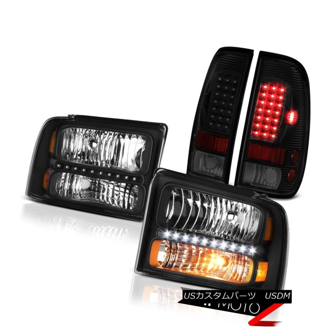 ヘッドライト 05 06 07 F350 6.8L Matte Black Headlamps Dark Tinted Tail Brake Lights LED Drl 05 06 07 F350 6.8LマットブラックヘッドランプダークテールテールブレーキライトLED Drl