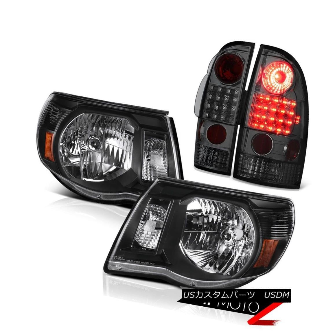 ヘッドライト 2005-2011 Toyota Tacoma Crystal Black Headlights LED Smoke Rear Tail Lights Lamp 2005-2011トヨタタコマクリスタルブラックヘッドライトLEDスモークリアテールライトランプ