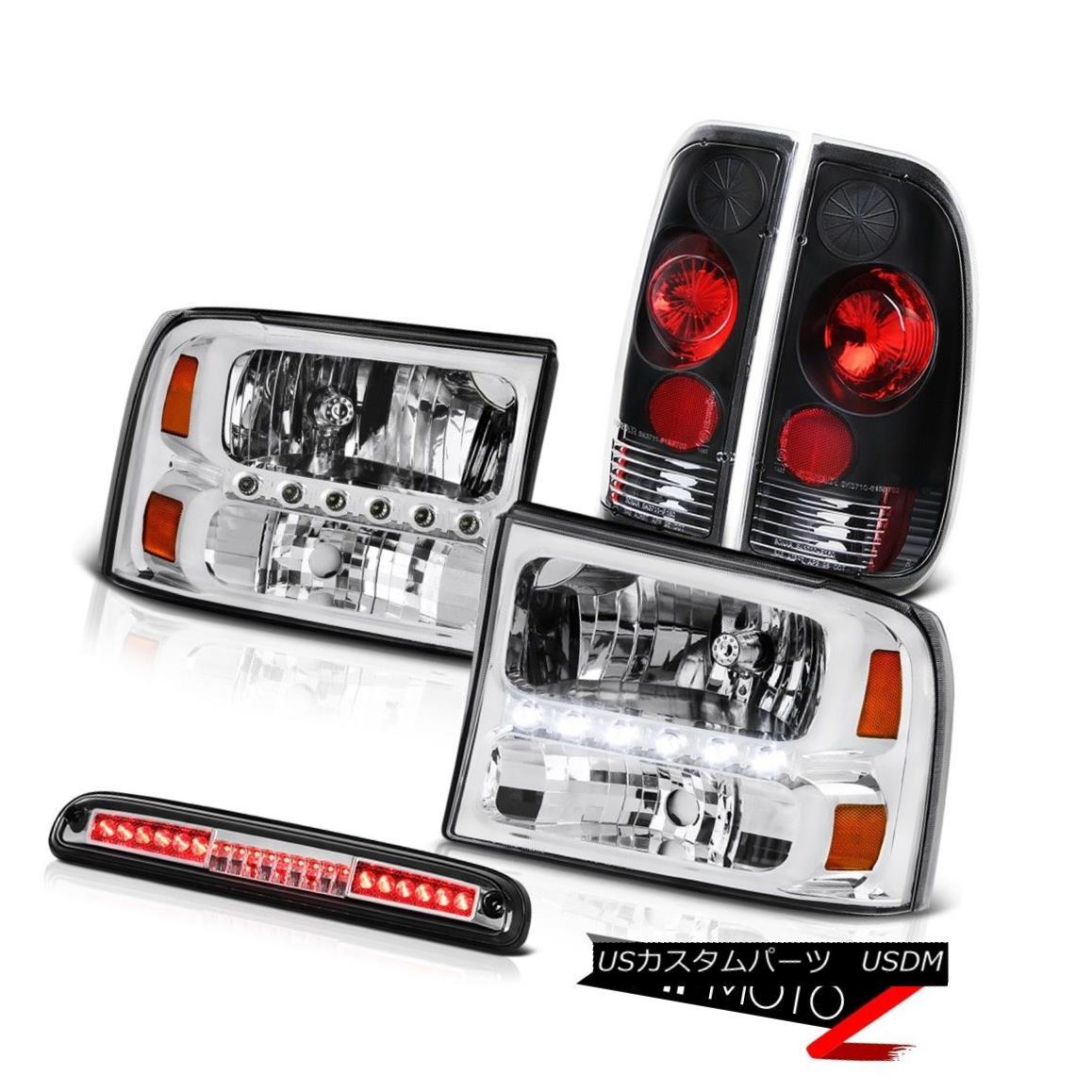 ヘッドライト Euro Chrome Headlights Black Tail Light High Stop LED 1999-2004 F350 King Ranch ユーロクロームヘッドライトブラックテールライトハイストップLED 1999-2004 F350キングランチ