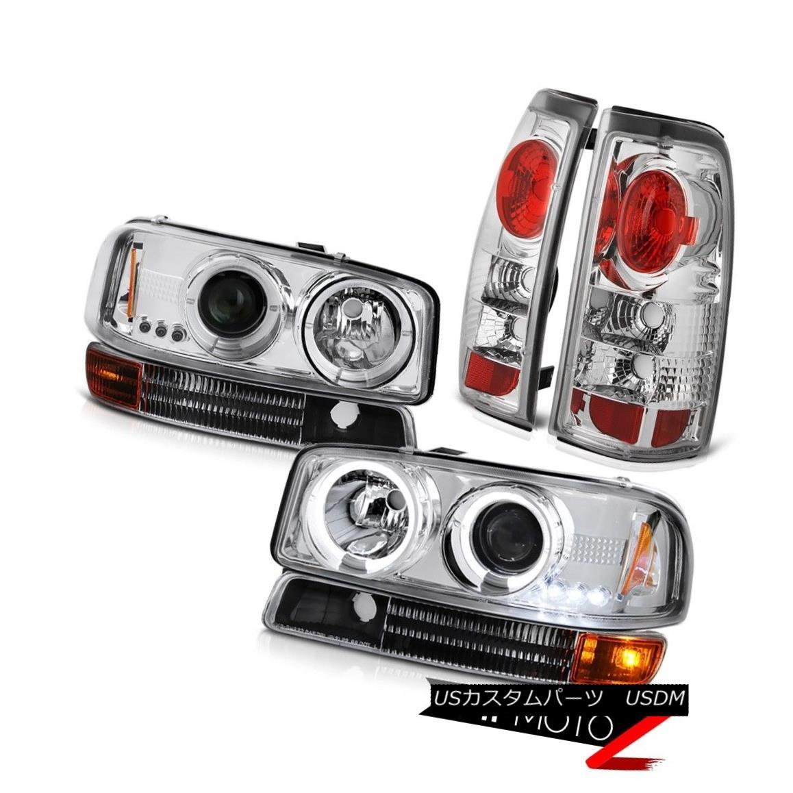 ヘッドライト 99-03 Sierra DuraMax 6.6L Angel Eye Projector Headlights Signal Rear Tail Lamps 99-03 Sierra DuraMax 6.6Lエンジェルアイプロジェクターヘッドライト信号リアテールランプ