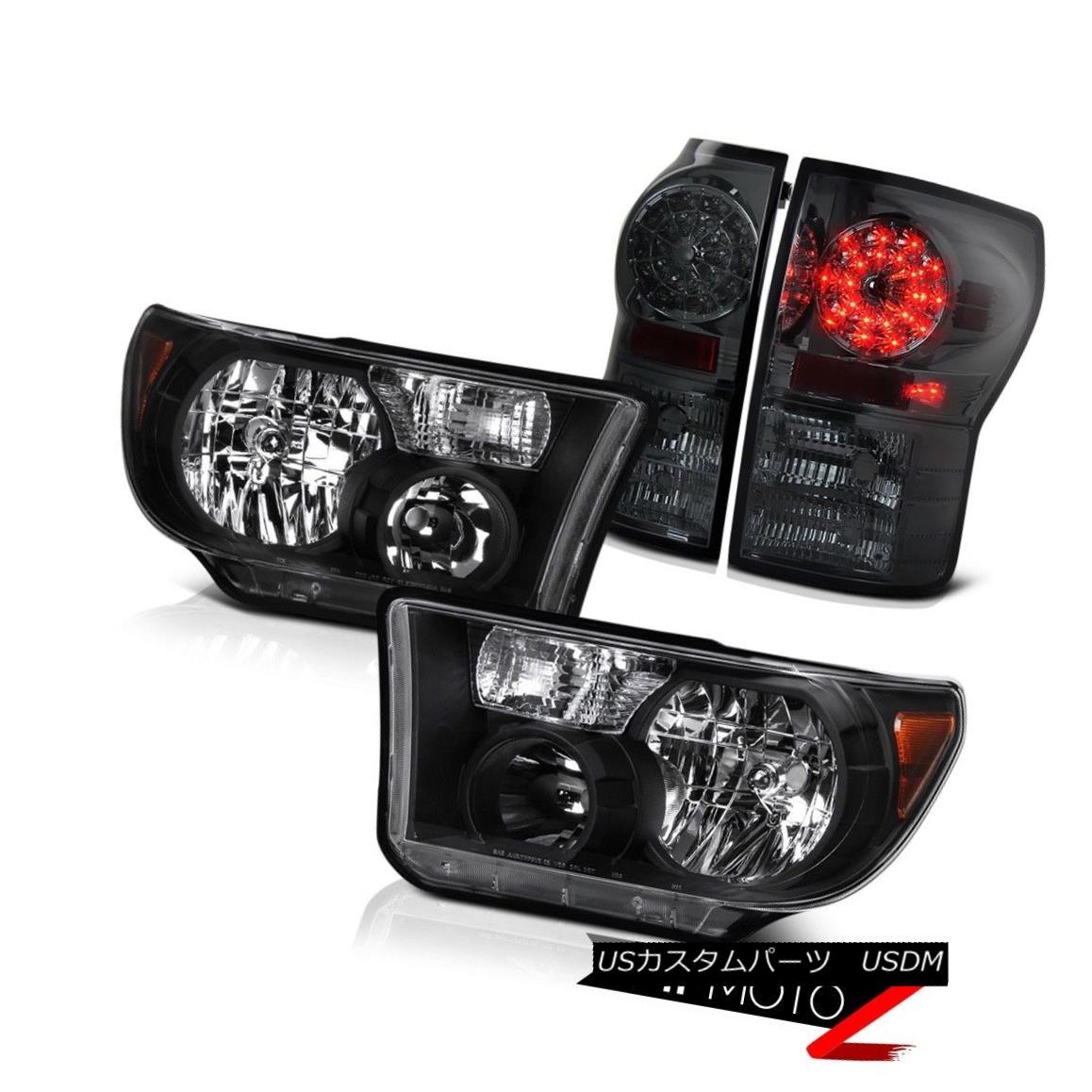 ヘッドライト Left+Right Black Diamond Crystal Headlight+Smoke Led Tail Light 2007-2013 Tundra 左+右ブラックダイヤモンドクリスタルヘッドライト+スモーク eテールライトテールライト2007-2013 Tundra