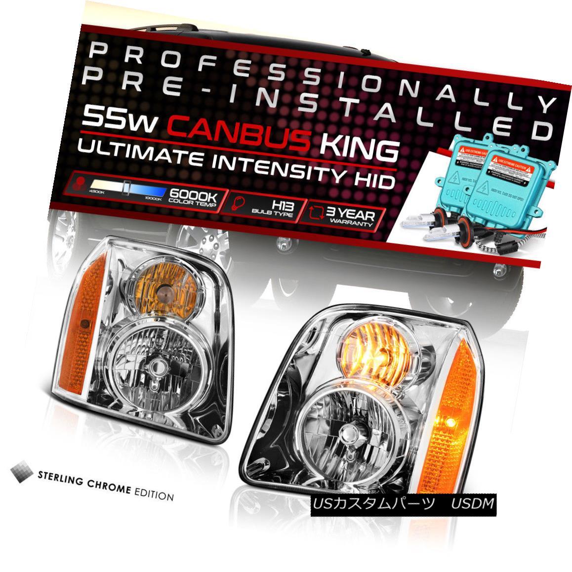 ヘッドライト [BUILT-IN HID LOW BEAM] 2007-2014 GMC Yukon XL Chrome Headlights Replacement SET [HID LIGHT BEAM内蔵] 2007-2014 GMC Yukon XLクロームヘッドライト交換用セット