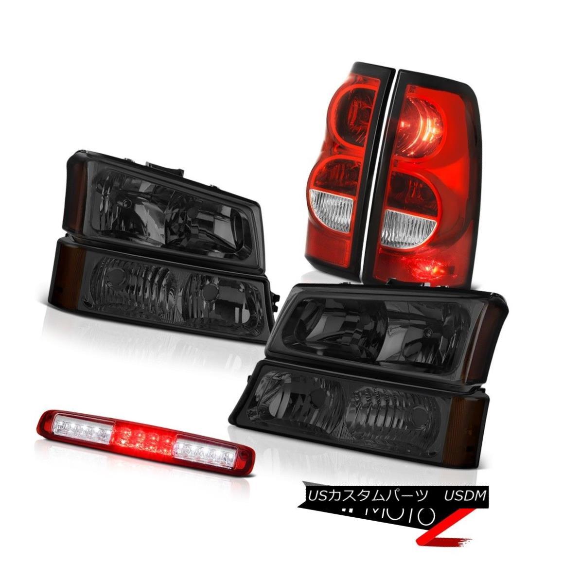 ヘッドライト 03-06 Silverado 2500Hd Red Clear 3RD Brake Lamp Tail Lights Smokey Headlights 03-06 Silverado 2500Hdレッドクリア3RDブレーキランプテールライトスモークヘッドライト
