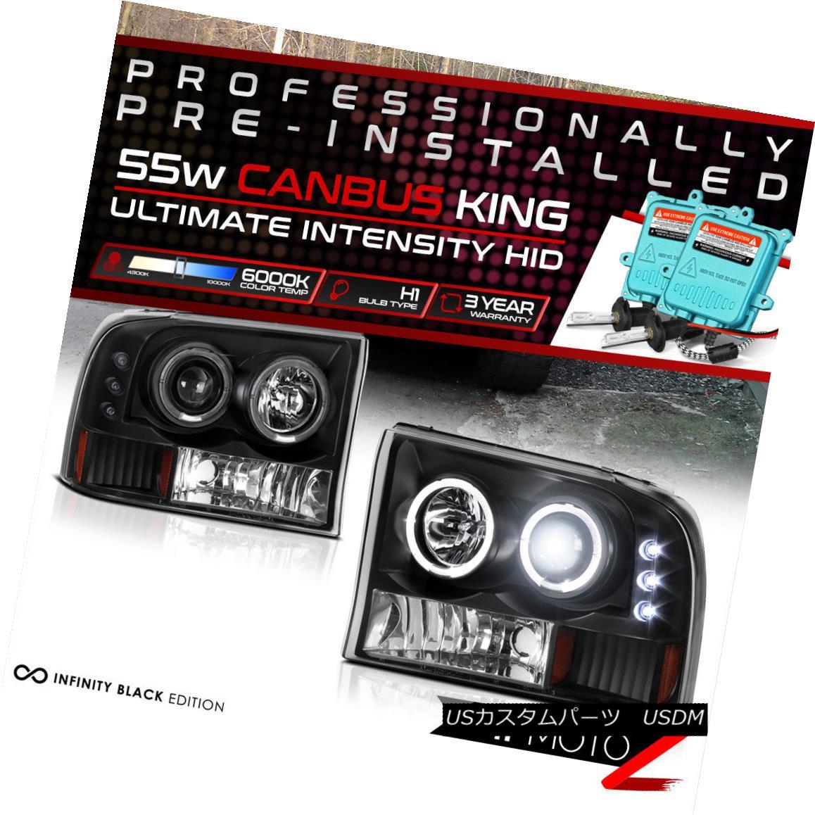 ヘッドライト !55W HID Built-In! 99-04 Ford SuperDuty Black Dual LED Halo Projector Headlight !55W HID内蔵! 99-04 Ford SuperDuty BlackデュアルLEDハロープロジェクターヘッドライト