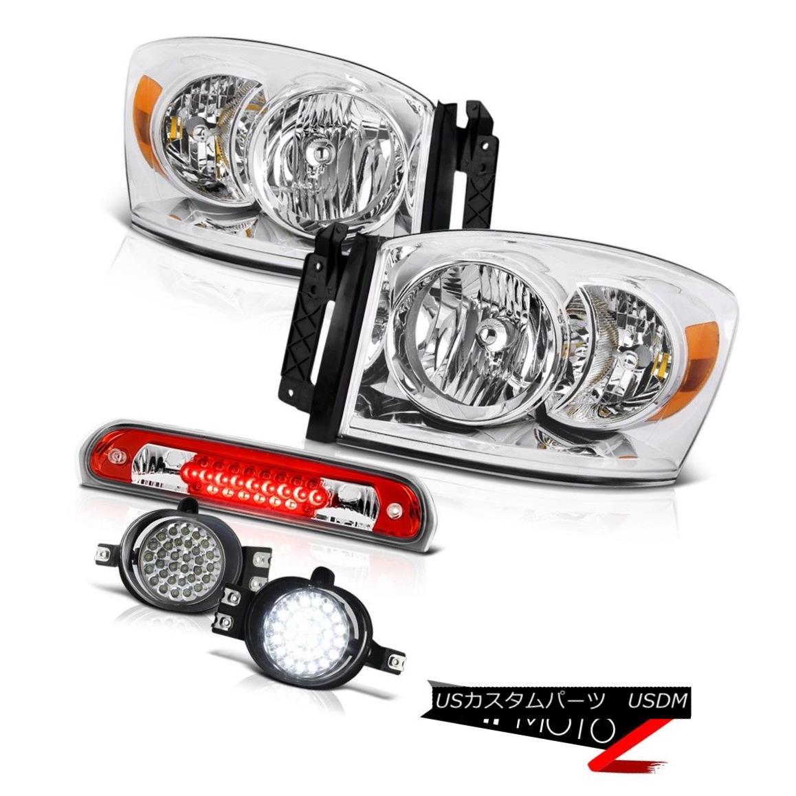 ヘッドライト Crystal Clear Headlights LED Trim Fog Third Brake Cargo 2007-2008 Dodge Ram 1500 クリスタルクリアヘッドライトLEDトリムフォグサードブレーキ貨物2007-2008ダッジラム1500