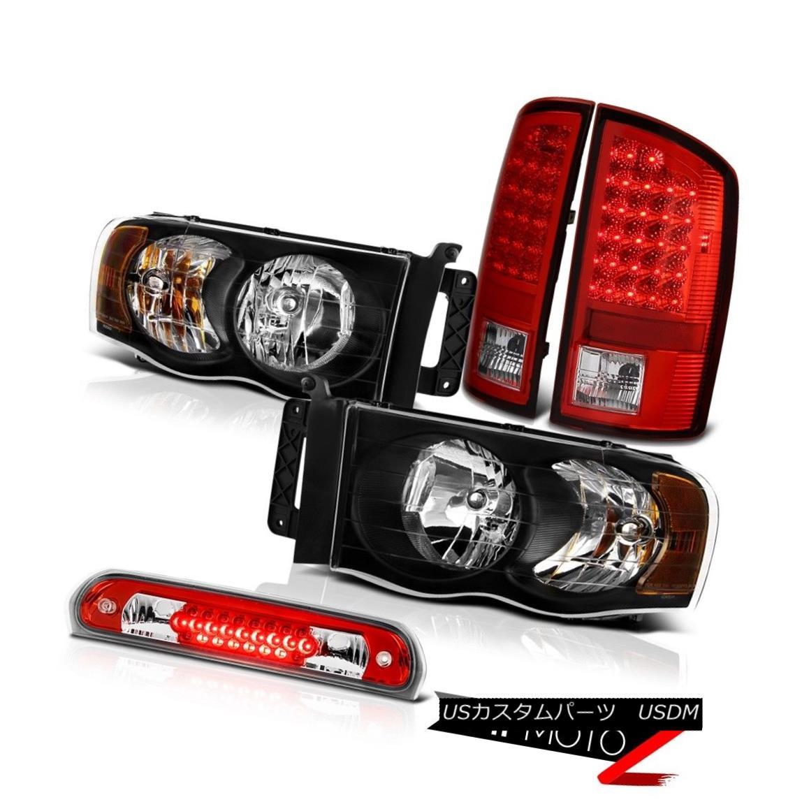 ヘッドライト Pair Black Headlights LED Tail Lights Roof Brake Cargo Lamps 2002-2005 Ram ST ペアブラックヘッドライトLEDテールライトルーフブレーキカーゴランプ2002-2005 Ram ST