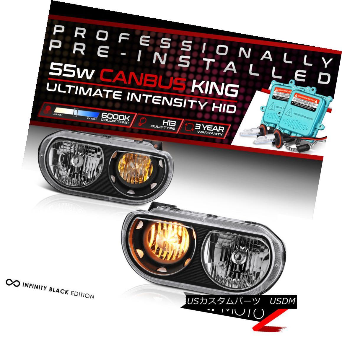 ヘッドライト !55W HID Built-In! 08-14 Dodge Challenger Black Replacement Headlight Assembly !55W HID内蔵! 08-14ダッジチャレンジャーブラック交換ヘッドライトアセンブリ