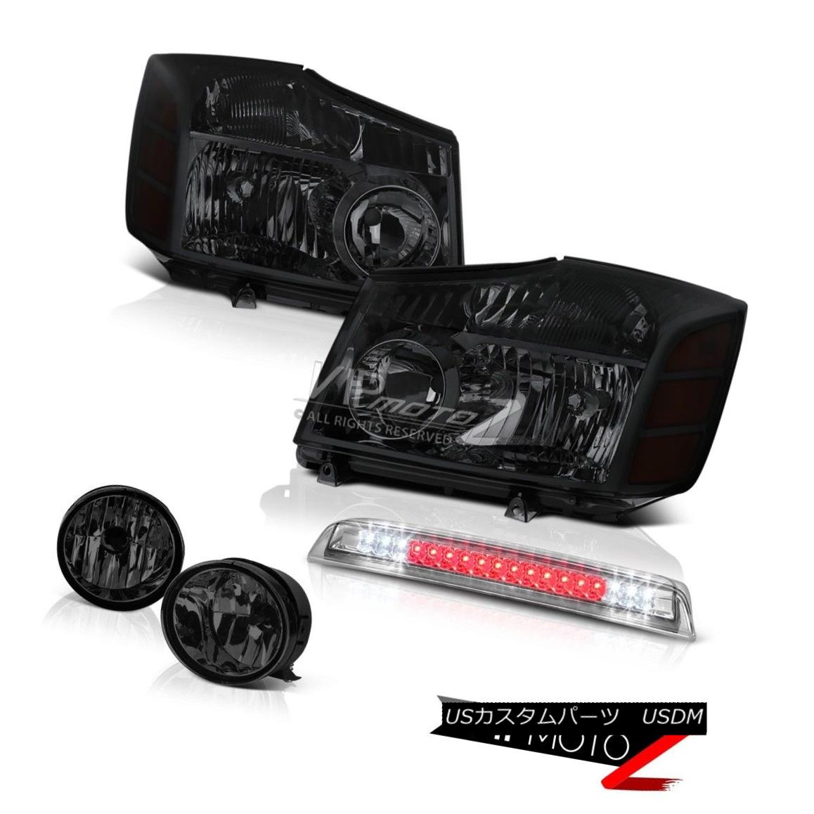 ヘッドライト Pair Left Right Tinted Headlight Fog Light Euro High Stop For 2004-2015 Titan SE 2004年から2015年のタイタンSEのための左のペアの右の色付きヘッドライトフォグライトユーロハイストップ