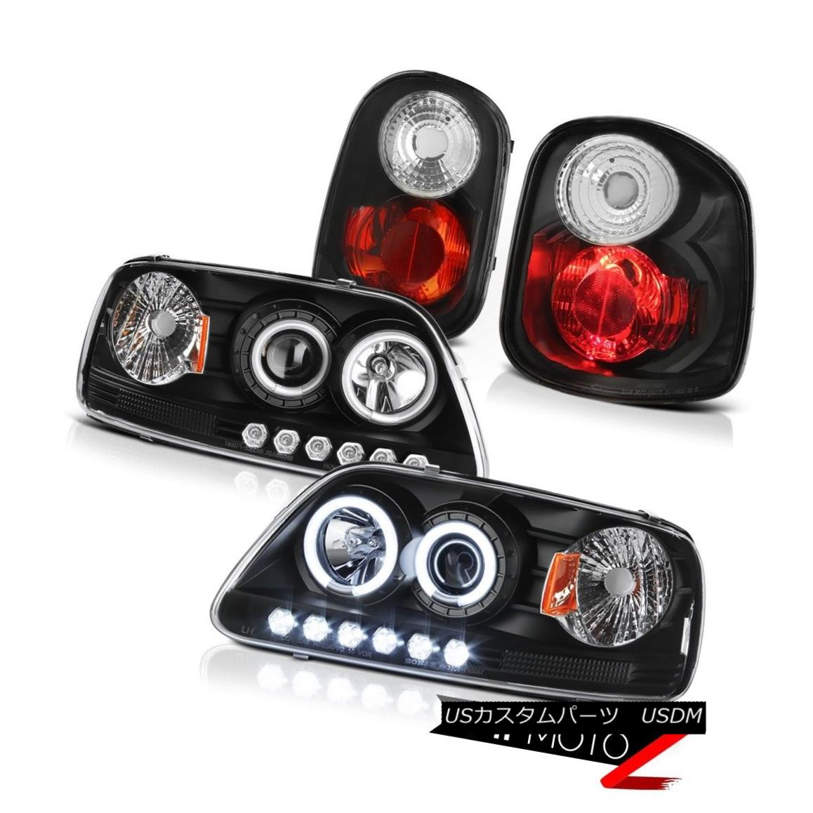 ヘッドライト Angel Eye CCFL Headlamps Black Tail Lamps 1997-2000 F150 Flareside King Ranch エンジェルアイCCFLヘッドランプブラックテールランプ1997-2000 F150 Flareside King Ranch