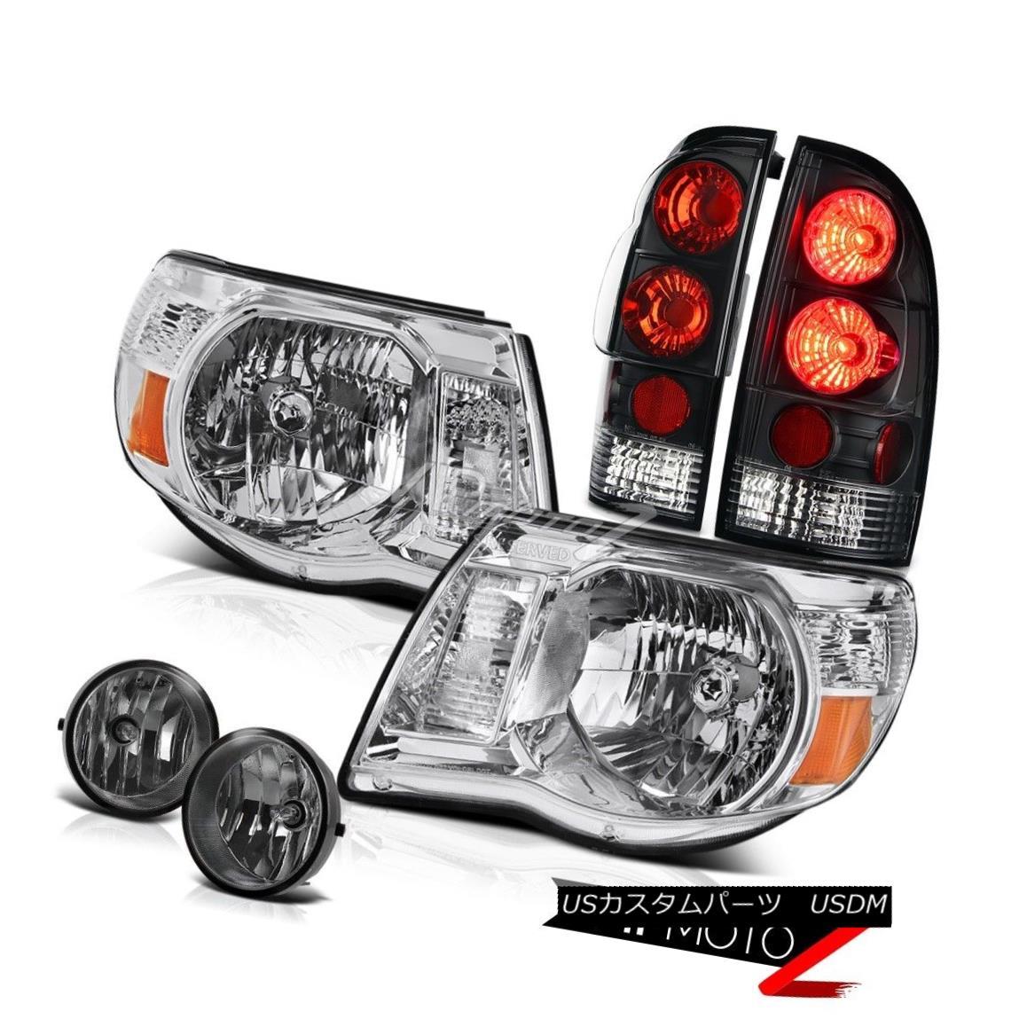 ヘッドライト 2005-2011 Toyota Tacoma Chrome Amber Headlight Black Tail Lights Smoke Foglights 2005-2011トヨタタコマクロームアンバーヘッドライトブラックテールライトスモークフォグライト