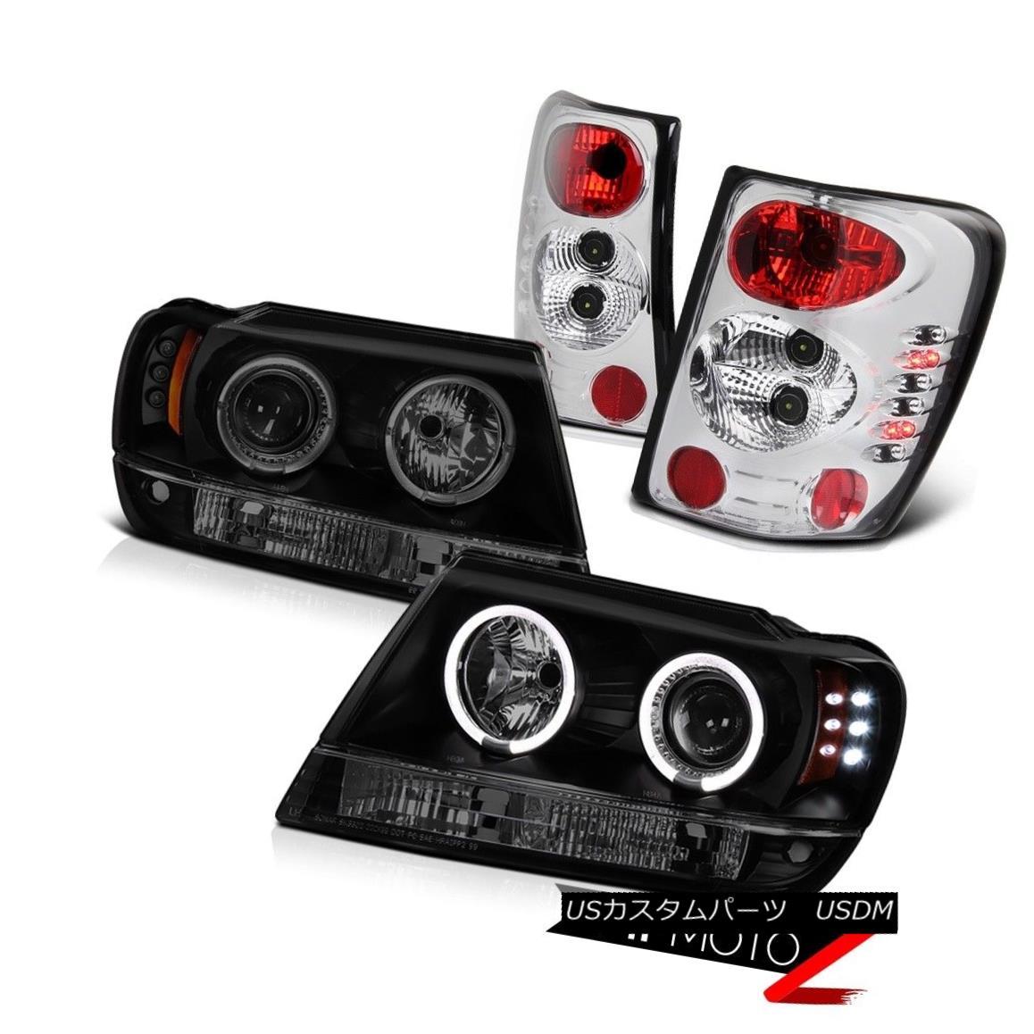 ヘッドライト Grand Cherokee 99 00 01 Dual Angel Eye Headlights LED Smoke Rear Brake Tail Lamp グランドチェロキー99 00 01デュアルエンジェルアイヘッドライトLEDスモークリアブレーキテールランプ