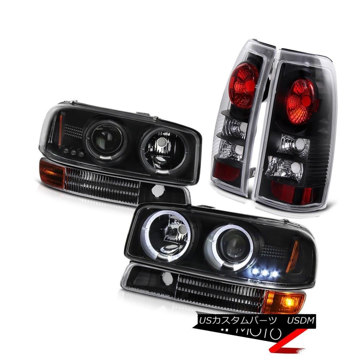ヘッドライト 1999-2003 Sierra 5.3L V8 Twin Halo LED Headlights Bumper Rear Black Brake Lamps 1999-2003シエラ5.3L V8ツインハローLEDヘッドライトバンパーリアブラックブレーキランプ