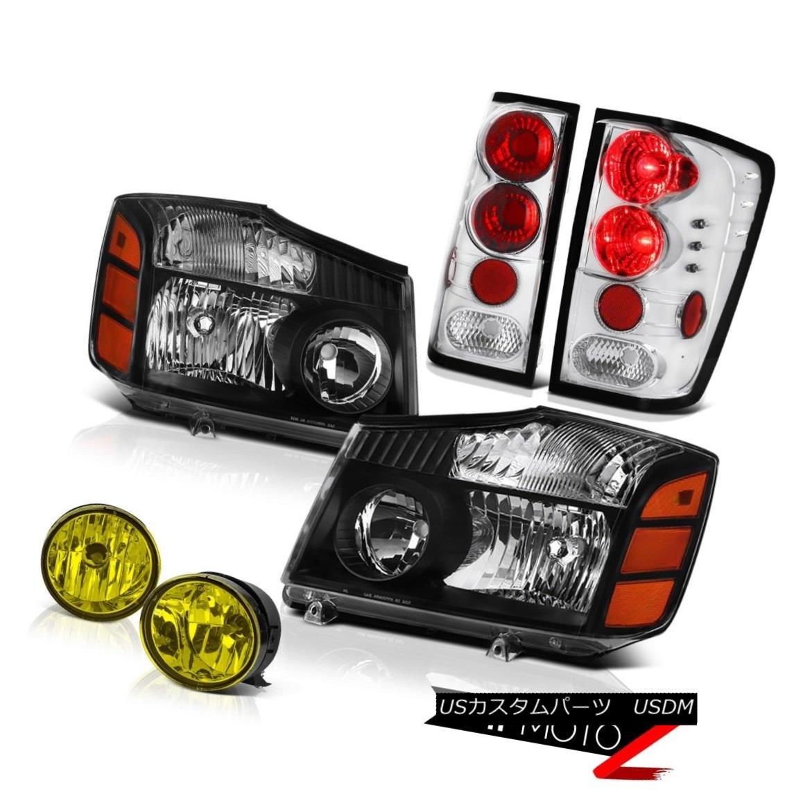 ヘッドライト For 2004-2015 Titan L+R Black Replacement Headlight Chrome Tail Lamp Yellow Fog 2004年?2015年タイタンL + Rブラック交換ヘッドライトクロームテールランプイエローフォグ