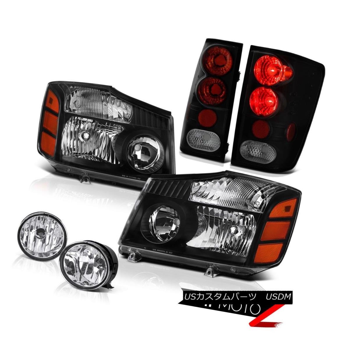 ヘッドライト For 04-15 Titan Pro-4X Headlight Tail Light Sinister Black Brake Lamp Bumper Fog 04-15タイタンプロ-4Xヘッドライトテールライトシニスターブラックブレーキランプバンパーフォグ