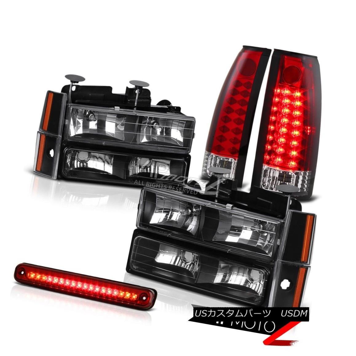 ヘッドライト Red L.E.D Third Brake Roof Cab Mount Tail Lights Black Complete Front Headlights レッドL.E.Dサードブレーキルーフキャブマウントテールライトブラックフロントライトヘッドライト