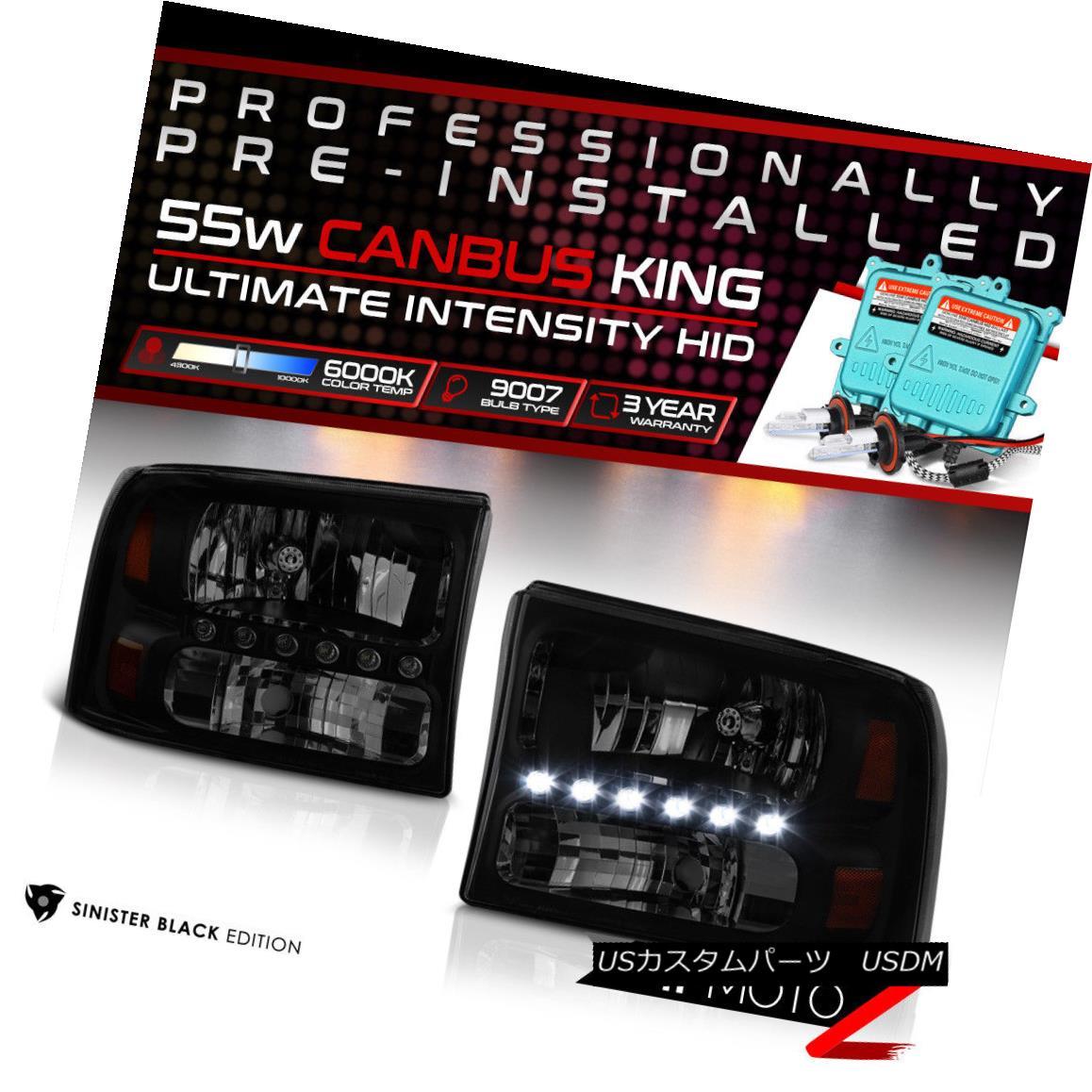 ヘッドライト !55W HID Built-In! 99-04 Ford SuperDuty Black Smoked LED DRL Headlight Assembly !55W HID内蔵! 99-04フォードSuperDutyブラックスモークLED DRLヘッドライトアセンブリ
