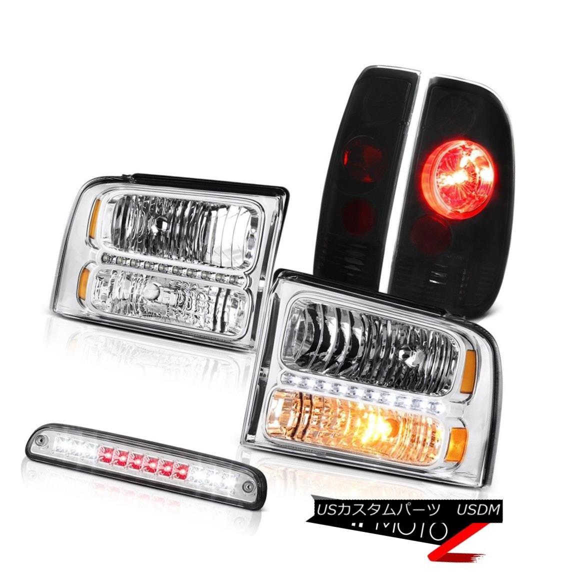 ヘッドライト 05 06 07 F450 F550 Chrome Headlights Sinister Black Tail Lamps Third Brake LED 05 06 07 F450 F550クロームヘッドライトブラックテールランプ灯3番目のブレーキLED