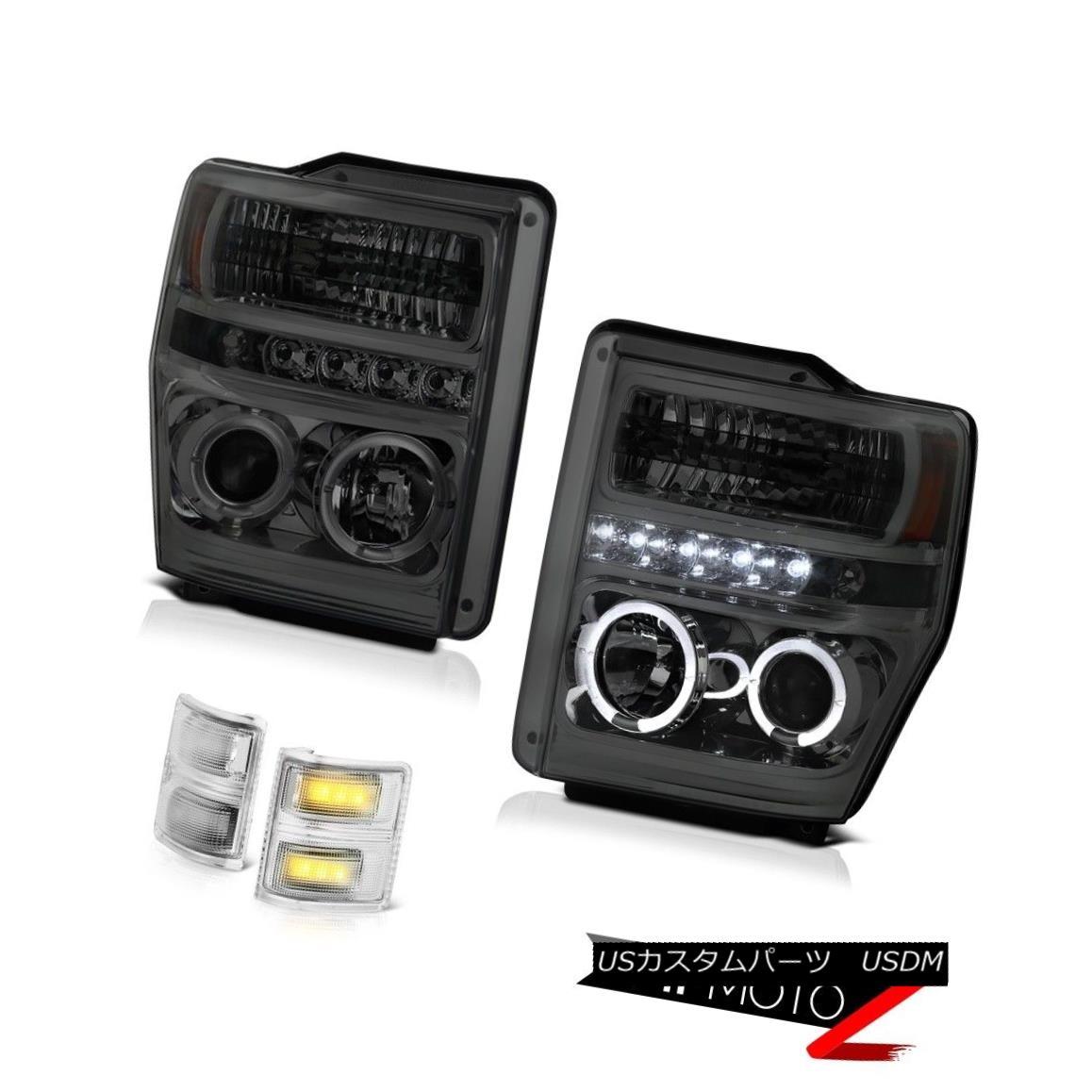 ヘッドライト 2008-2010 Ford F250 F350 Smoke Halo Projector Headlight LED Signal Towing Mirror 2008-2010 Ford F250 F350スモークハロープロジェクターヘッドライトLED信号牽引ミラー