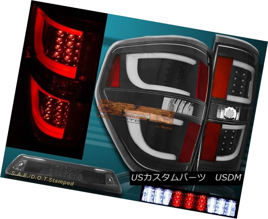テールライト 09-14 Ford F150 XL XLT STX Black Housing LED Tail Lights G2 + 3rd Brake Light 09-14フォードF150 XL XLT STXブラックハウジングLEDテールライトG2 + 3rdブレーキライト