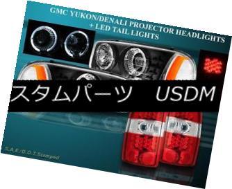 テールライト 00-06 YUKON DENALI XL 1500 2500 BLACK PROJECTOR HEADLIGHTS + LED TAIL LIGHTS RED 00-06 YUKON DENALI XL 1500 2500ブラックプロジェクターヘッドライト+ LEDテールライト赤