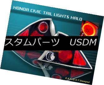 テールライト 01-03 HONDA CIVIC TAIL LIGHTS BLACK HALO 2D 02 LAMPS 01-03ホンダシビックテールライトブラックハロー2D 02ランプ