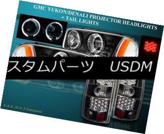 テールライト 2000-06 YUKON / YUKON DENALI XL BLACK PROJECTOR HEADLIGHTS + LED TAIL LIGHTS BLK 2000-06年YUKON / YUKON DENALI XL黒色プロジェクターヘッドライト+ LEDテールライトBLK