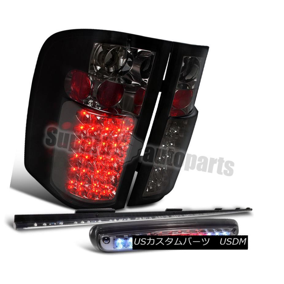 テールライト 2007-2012 Chevy Silverado Smoke LED Tail Lights+3rd Brake Lamp+60