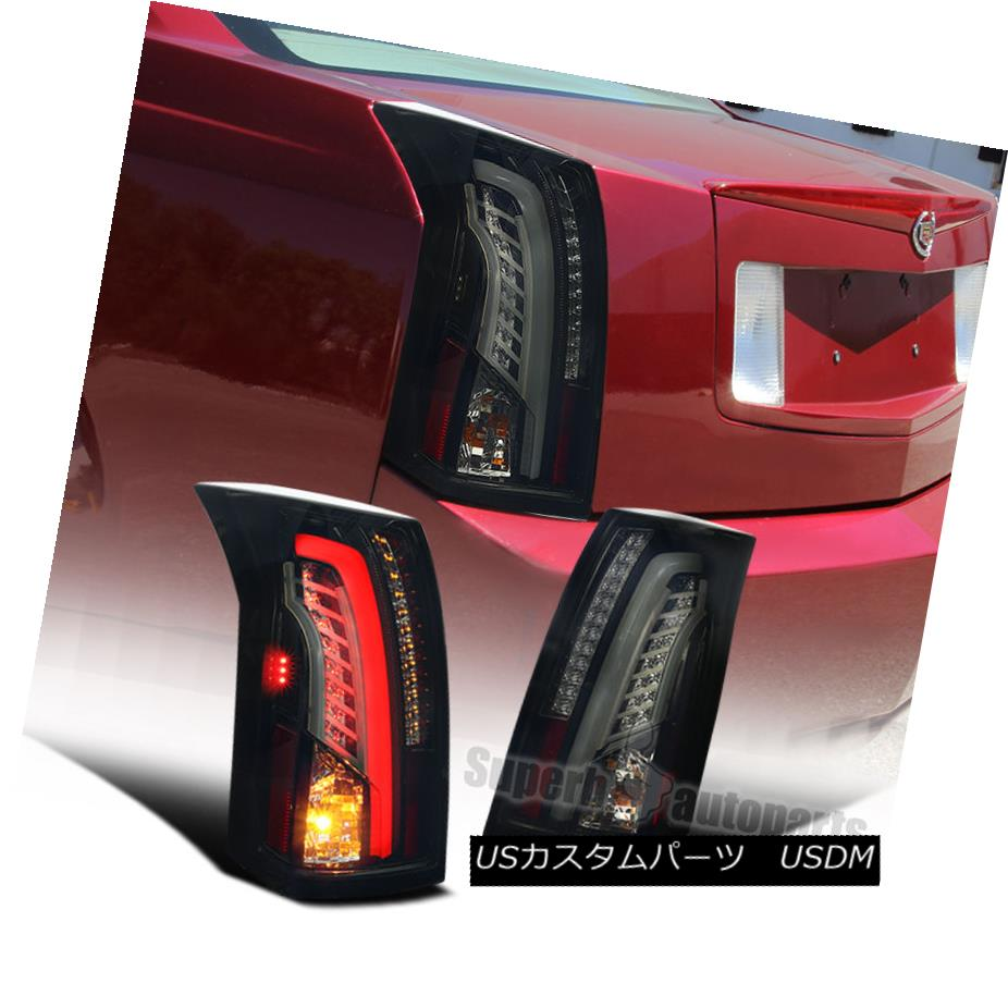 テールライト LED Bar 2003-2007 Cadillac CTS Glossy Black Smoke Lens Tail Brake Lights LEDバー2003-2007キャデラックCTS光沢ブラックスモークレンズテールブレーキライト
