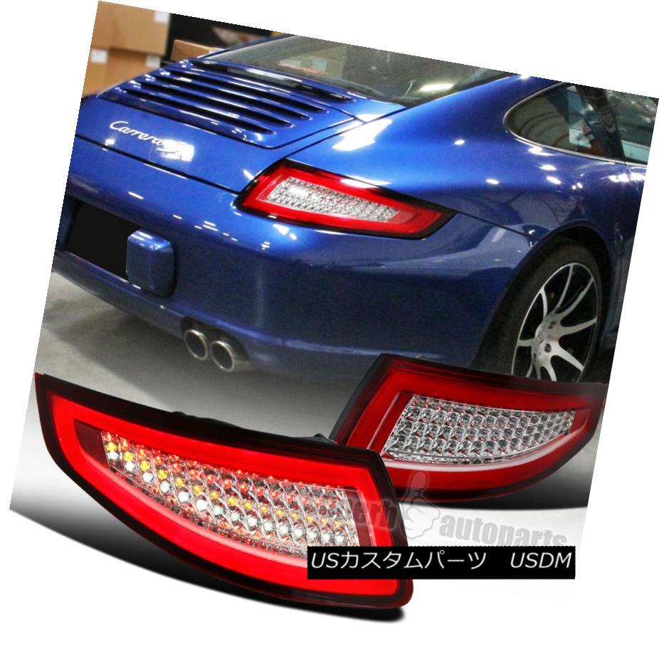 テールライト Porsche 2005-2008 911 997 Carrera Targa GT2 GT3 Turbo Red+Clear LED Tail Lamps ポルシェ2005-2008 911 997カレラタルガGT2 GT3ターボレッド+クリアLEDテールランプ