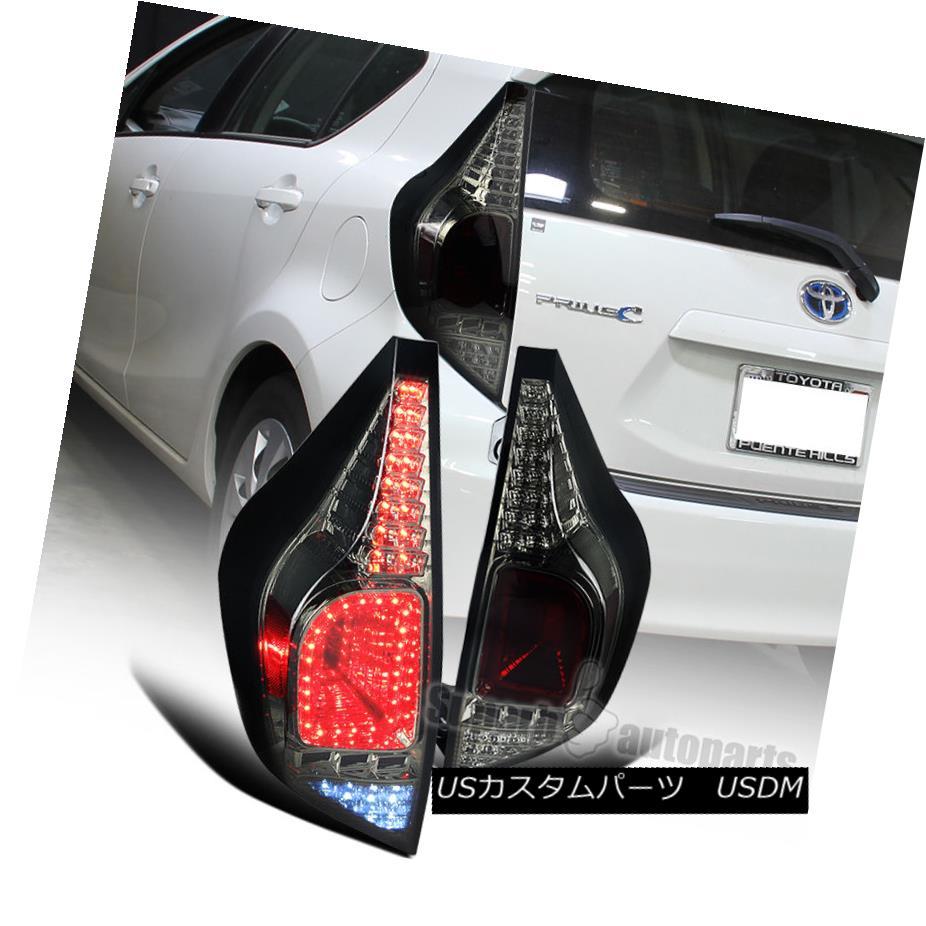 テールライト 2012-2014 Toyota Prius C LED Rear Tail Brake Lights Smoked Replacement Pair 2012年?2014年Toyota Prius C LEDリアテールブレーキライトスモーク代替ペア