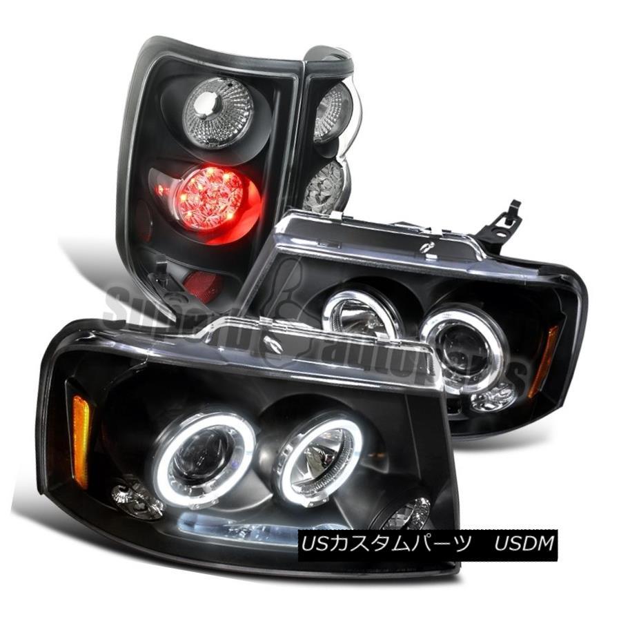 テールライト 2004-2008 Ford F150 Black Halo Projector LED Headlights+Brake Tail LED Lamps 2004-2008 Ford F150 Black HaloプロジェクターLEDヘッドライト+ Bra keテールLEDランプ