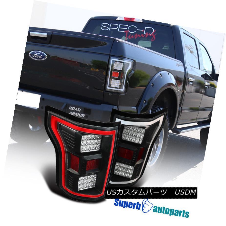 テールライト Black Full LED Tube Bar Rear Brake Tail Lights 15-17 Ford F150 Replacement Pair ブラックフルLEDチューブバーリアブレーキテールライト15-17 Ford F150交換用ペア
