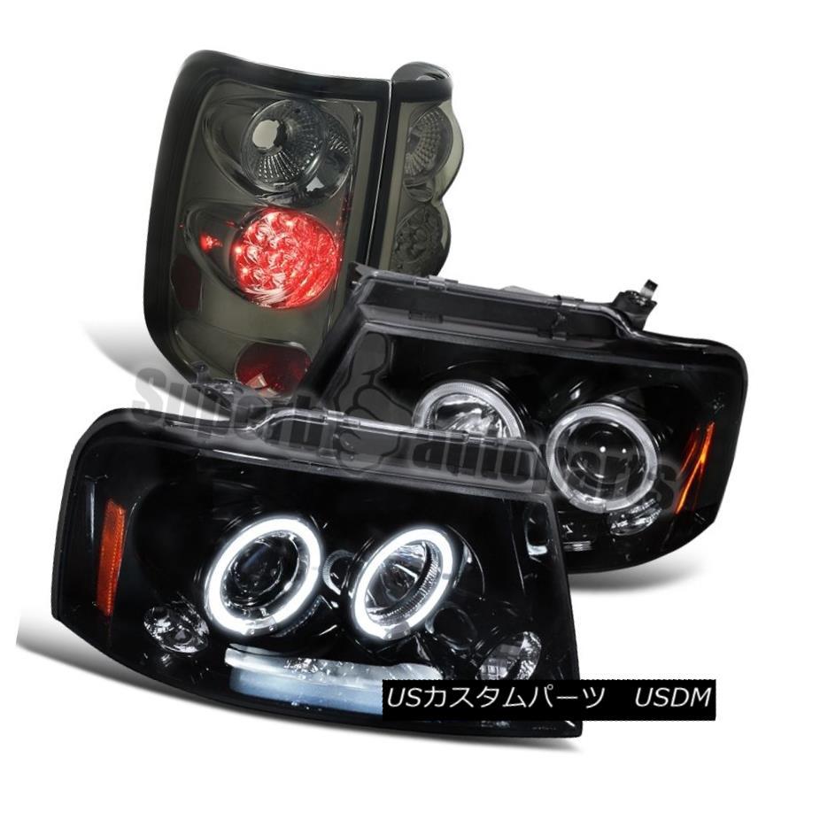 テールライト 2004-2008 Ford F150 Glossy Black Halo Projector LED Headlights+Smoke Tail Lights 2004-2008 Ford F150 Glossy Black HaloプロジェクターLEDヘッドライト+ Smo keテールライト