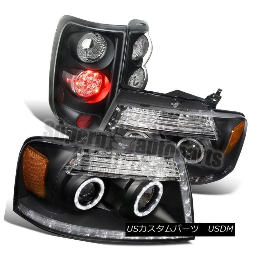 テールライト 2004-2008 Ford F150 LED DRL Black Clear Halo Projector Headlights+LED Tail Lamps 2004-2008 Ford F150 LED DRLブラッククリアハロープロジェクターヘッドライト+ LEDテールランプ