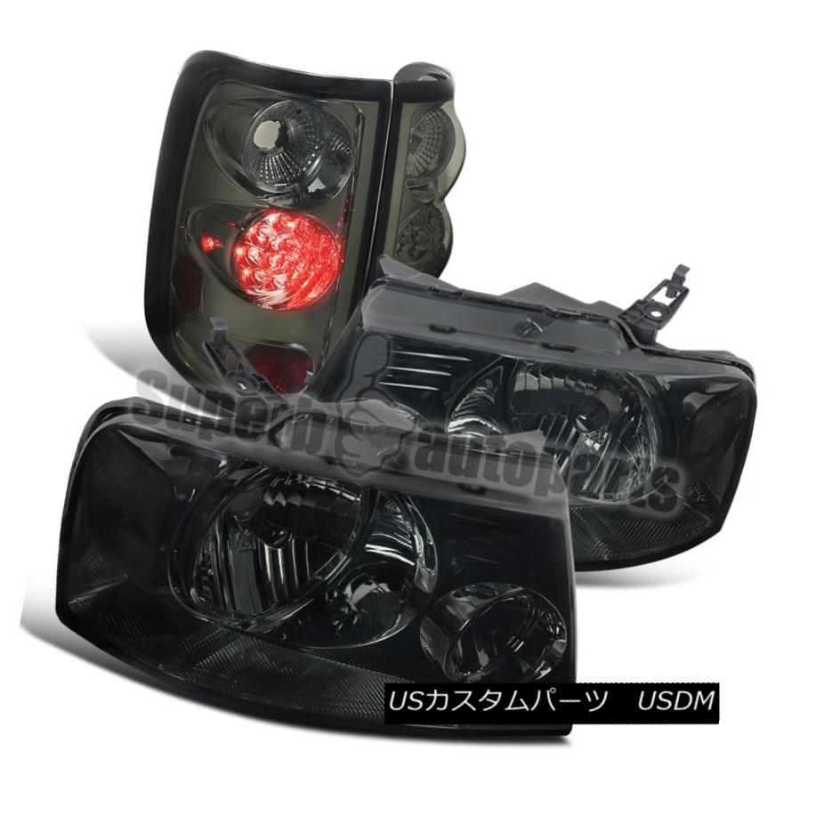 テールライト 04-08 Ford F-150 Euro Headlights Chorme Smoke+LED Tail Brake Lights Smoke Lens 04-08 Ford F-150ユーロヘッドライトクロームスモーク+ LEDテールブレーキライトスモークレンズ